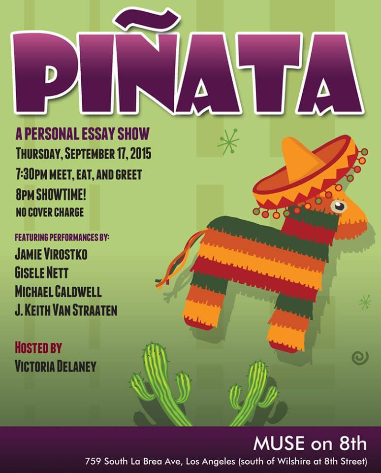 Hey, if you is a couch potato, come out to see Pinata this Thurs, cuz I'm do a story about a COUCH!